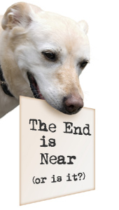 Dog holding 'End is near' sign