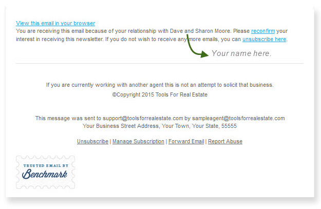 Real estate e-newsletter footer sample